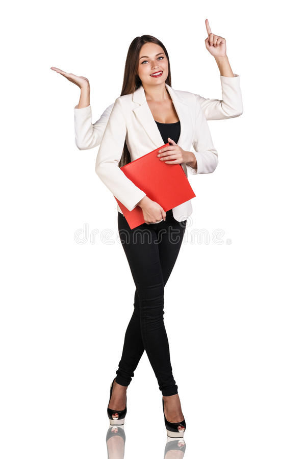 Smiley woman with four hands royalty free stock photos