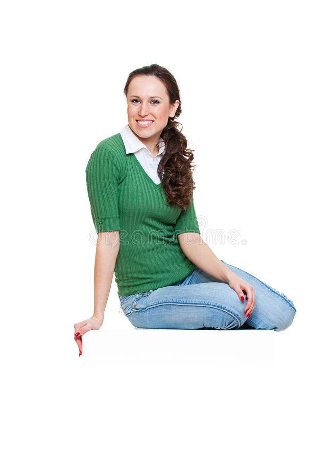 Download Smiley Woman Sitting On Copyspace Stock Photo - Image: 13732452