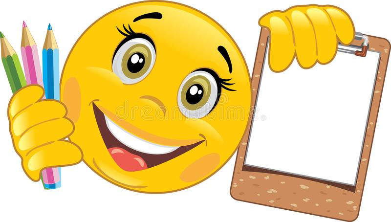 Smiley with wooden clipboard and colored pencils royalty free stock photos