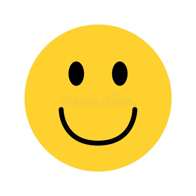 Smiley yellow face emoji on white background royalty free illustration