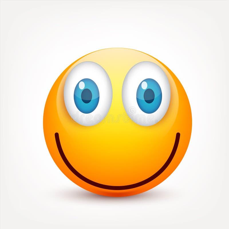 Smiley, yellow face with emotions.Realistic emoji. Sad or happy,angry emoticon mood.Cartoon character.Vector. Smiley, yellow face with emotions.Realistic emoji vector illustration