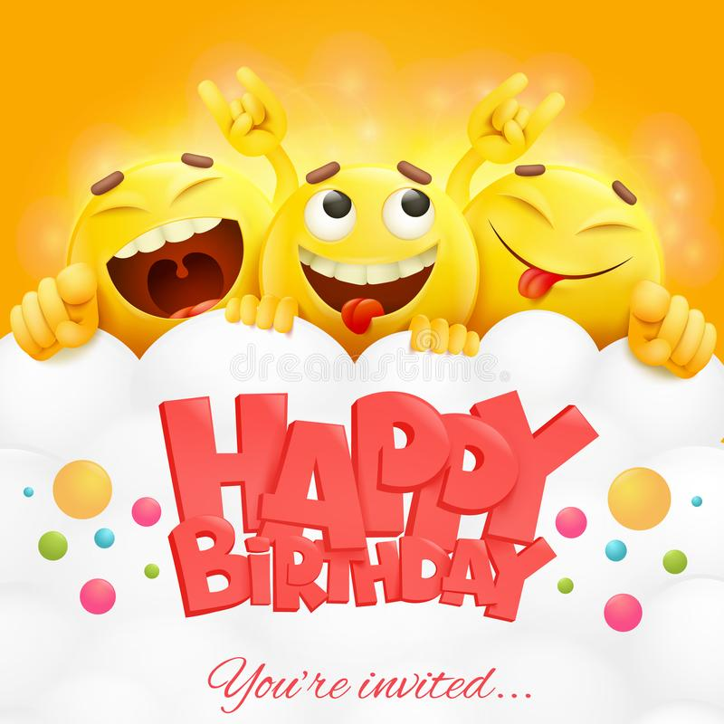 Smiley yellow faces emoji characters. Happy birthday card. vector illustration