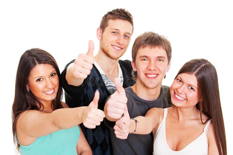 Download Smiley Young People Showing Thumbs Up Stock Photo - Image: 13696810