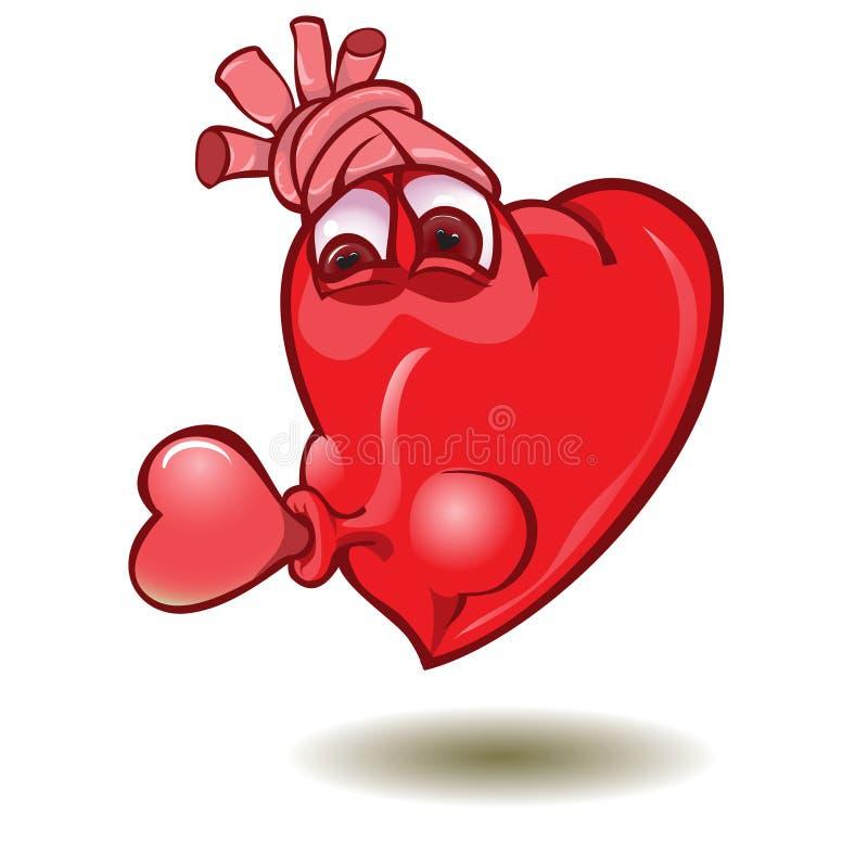 Smileyduim op hart vector illustratie