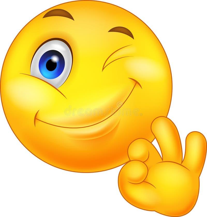 Smileyemoticon med det ok tecknet royaltyfri illustrationer