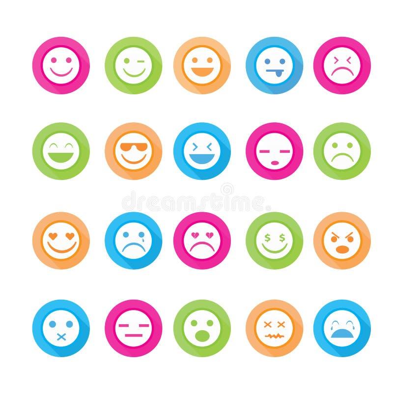 Smileyen vänder mot symbolsuppsättningen royaltyfri illustrationer