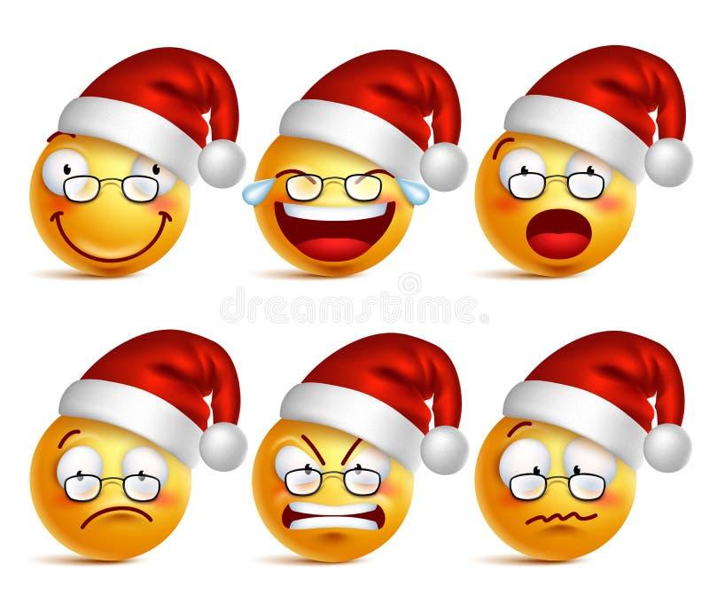 Smileyframsida av Santa Claus emoticons med uppsättningen av ansiktsuttryck för jul stock illustrationer
