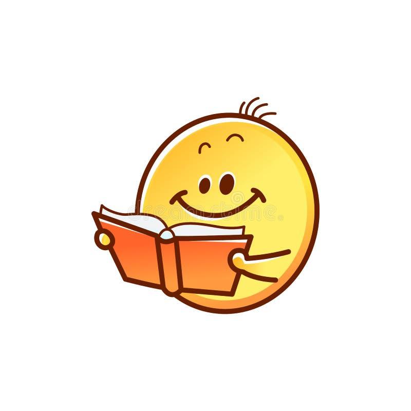 Smileyframsidaläsebok - gullig le gul emoticonboll med den öppnade röda boken royaltyfri illustrationer