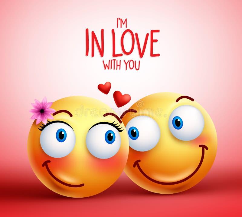 Smileyframsidapar eller vänner som är förälskade ansiktsuttryck stock illustrationer