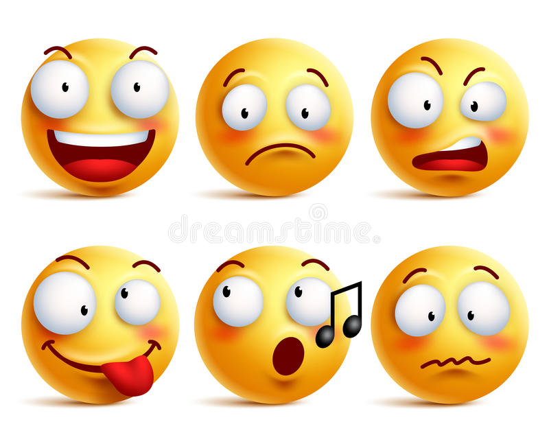Smileyframsidasymboler eller emoticons med uppsättningen av olika ansiktsuttryck