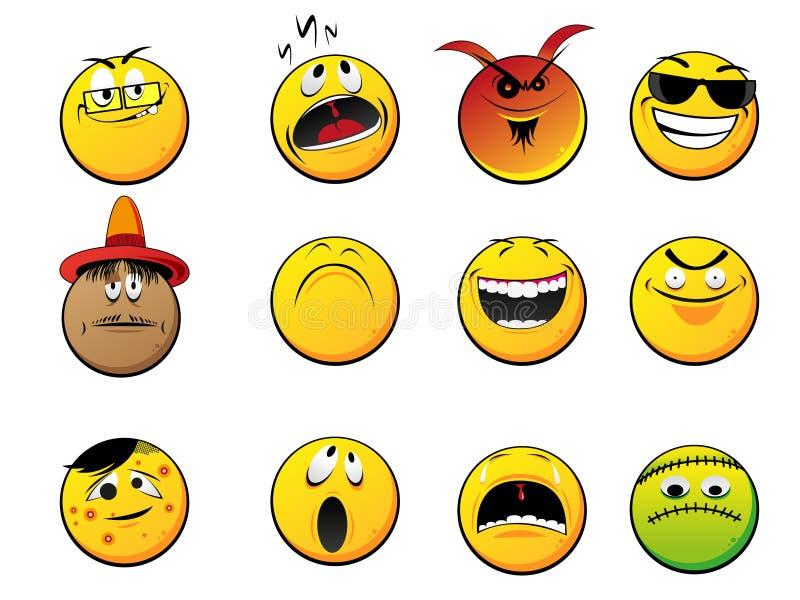 Smileyframsidor royaltyfri illustrationer