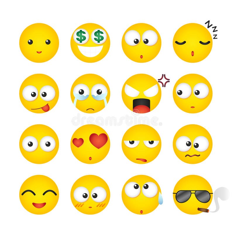 Smileygelaatsuitdrukking, pictogram, emotie Vector illustratie stock foto's