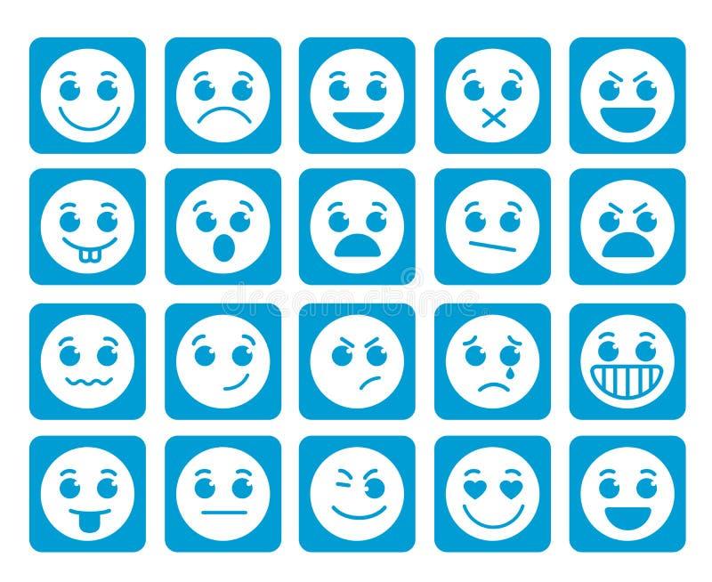 Smileygesichts-Vektorikonen in den quadratischen flachen blauen Knöpfen mit Gefühlen lizenzfreie abbildung