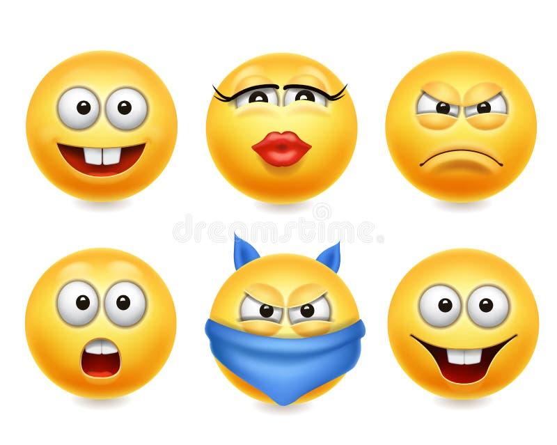 Smileygesichtsikonen Lustiger realistischer Satz der Gesichter 3d Nette gelbe emoji Sammlung stock abbildung