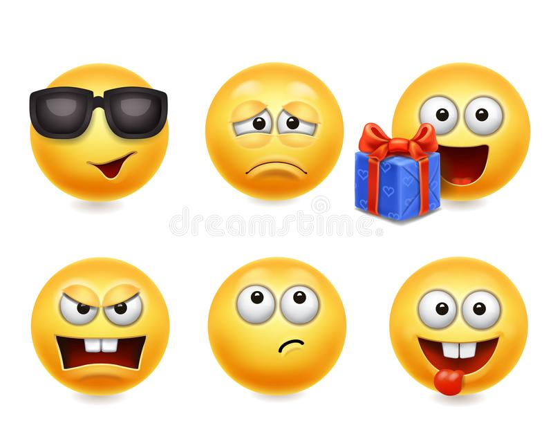 Smileygesichtsikonen Lustiger Satz der Gesichter 3d, nette gelbe Gesichtsausdrucksammlung 4 stock abbildung