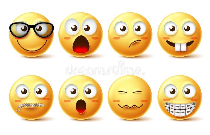 Smileygesichtsvektor-Ikonensatz Smileygesicht lustige Emoticons mit Brillen, Reißverschluss zugemachtem Mund und Zahnklammergesic lizenzfreie abbildung