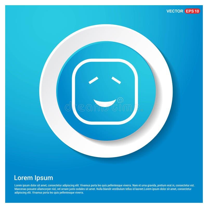 smileyikone, Gesichtsikone Zusammenfassungs-blauer Netz-Aufkleber-Knopf lizenzfreie abbildung