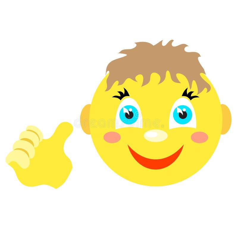 Smileyjongen met duimen op gebaar vector illustratie