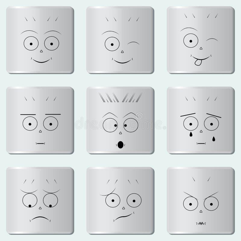 Smileyknöpfe/lustige Lächelnikone/smileygesicht/Satz verschiedene Emoticons stock abbildung