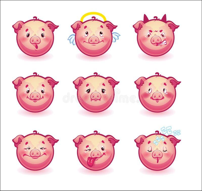 Smileys świnie ilustracja wektor