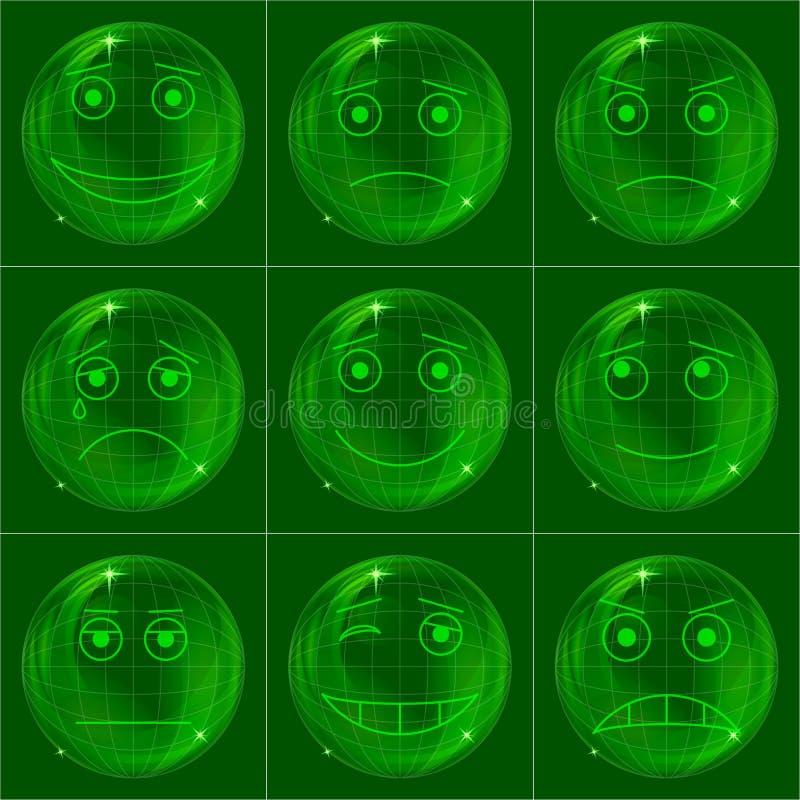 smileys пузырей зеленые иллюстрация штока