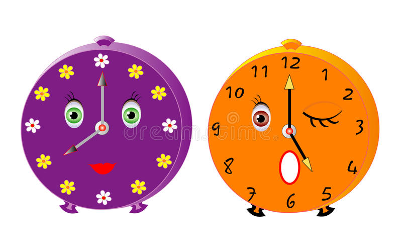 Smileys alarms. Vector illustration of two isolated cute alarms stock illustration