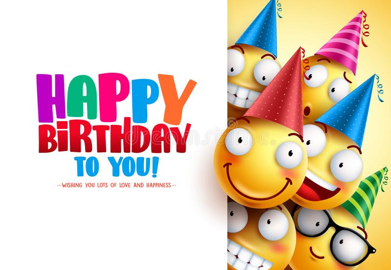 Smileys birthday vector greeting design with yellow funny and happy emotions. Wearing colorful party hats and happy birthday text in white empty background vector illustration