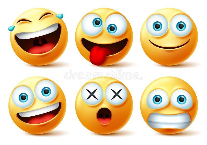 Smileys emoji- och uttrycksvektoruppsättning för uttrycksvektorer Smiley emojis eller emoticonis med galet, överraskande, roligt, vektor illustrationer