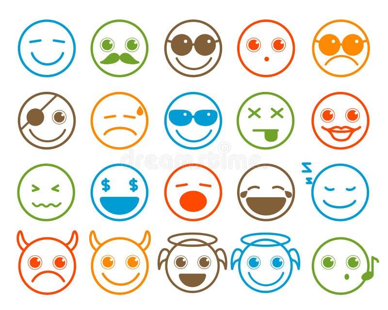 Smileys emoticon wektorowe ikony ustawiać w mieszkanie linii okręgu zapinają ilustracji