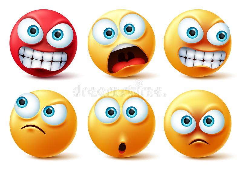 Smileys emoticons face vector set. Smiley yellow icon and emoticon faces with angry red, surprise, cute, crazy and funny. royalty free illustration