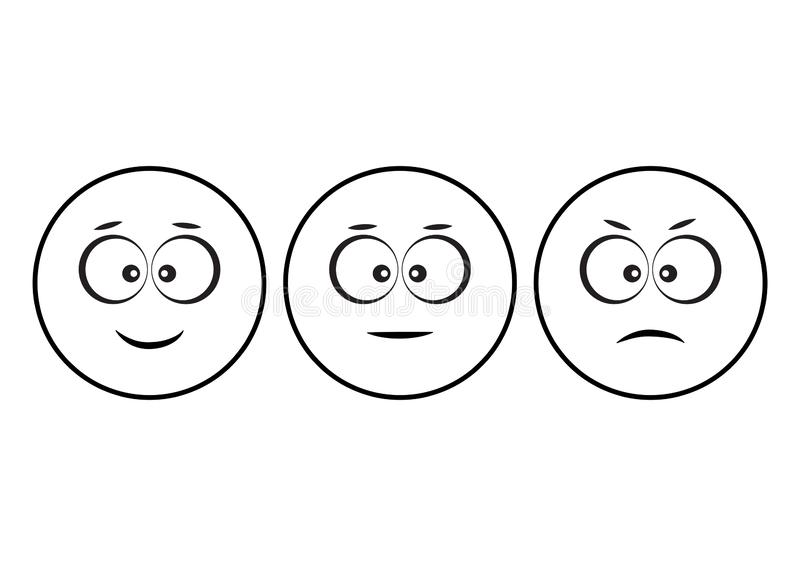 Smileys emoticons icon positive, neutral and negative, different mood. Funny characters. Vector. Illustration stock illustration