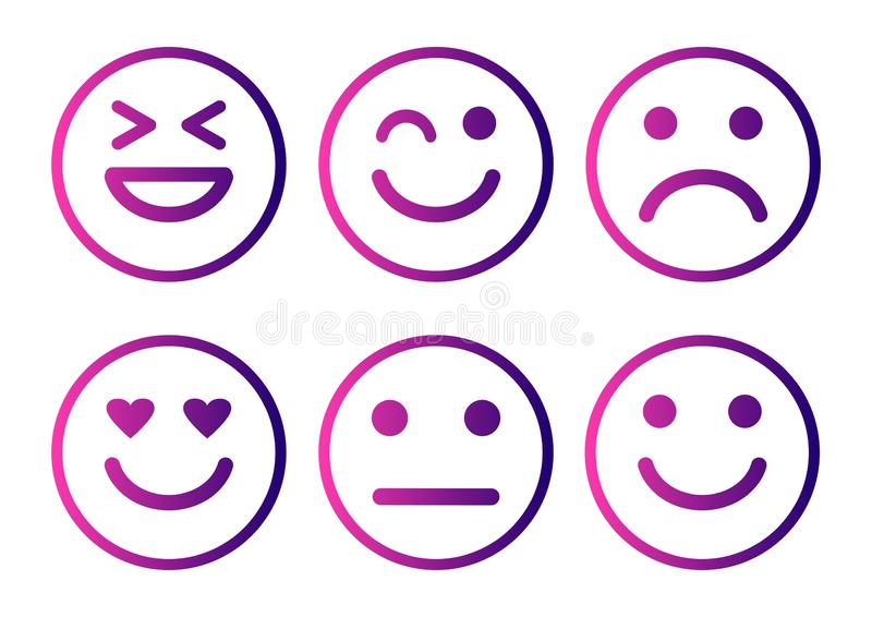 Smileys emoticons icon positive, neutral and negative, different mood. Vector illustration. Smileys emoticons icon positive, neutral and negative, different mood stock illustration