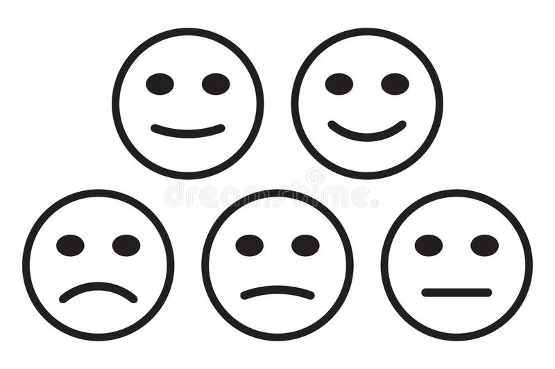 Smileys emoticons icon positive, neutral and negative, different mood. Vector illustration.  vector illustration