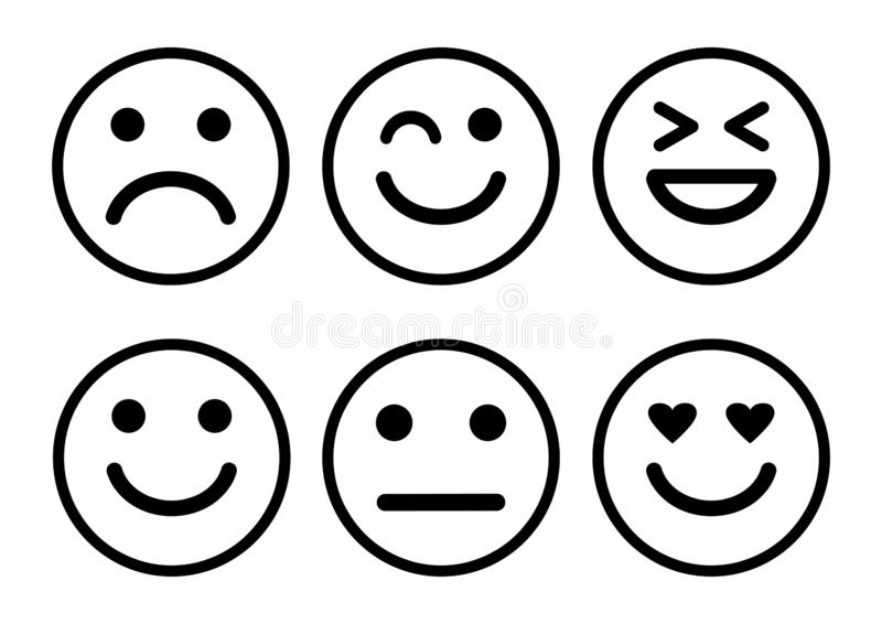 Smileys emoticons icon positive, neutral and negative, different mood. Vector. Illustration stock illustration