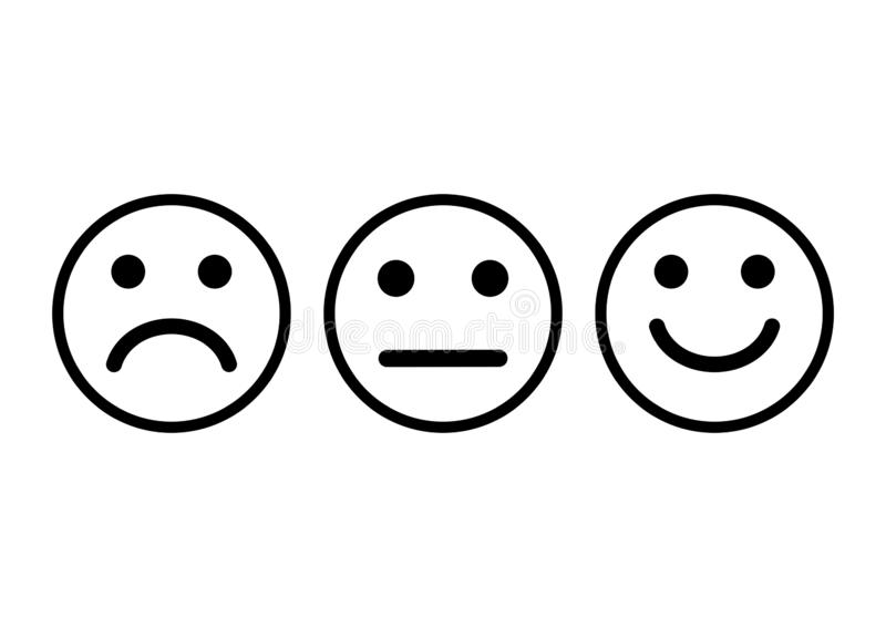 Smileys emoticons icon positive, neutral and negative. Vector illustration. Smileys emoticons icon positive, neutral and negative, different mood. Vector royalty free illustration