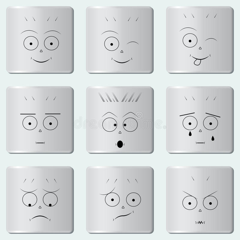 Smileys guziki/Śmieszna uśmiech ikona, Smiley twarz, set różnorodni emoticons/ ilustracji