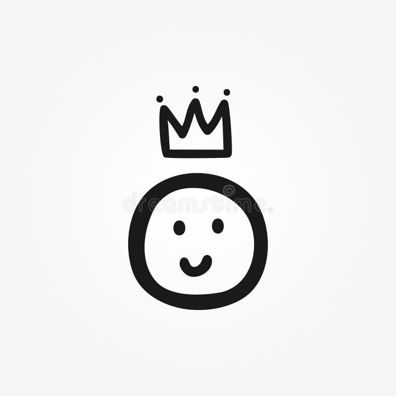 Smileys korona rysująca ręką Śmieszna ikona, symbol, znak, logo Doodle, nakreślenie, skrobanina ilustracja wektor
