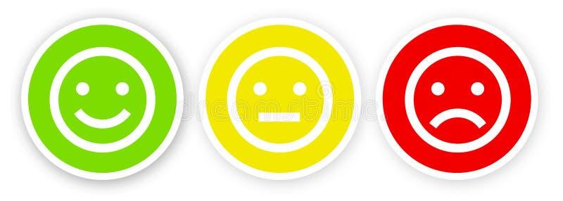 3 smileys na białym tle szczęśliwym, zadowolonym, zawodzący i nieszczęśliwy royalty ilustracja