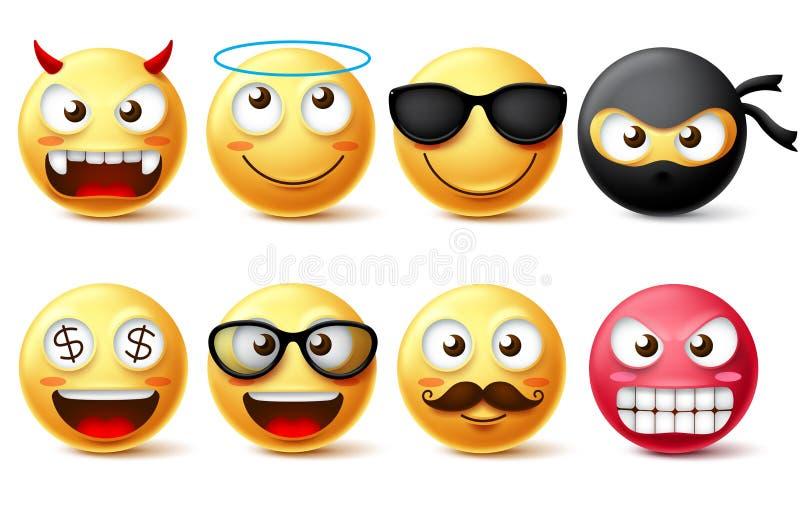 Smileys- och emoticonsvektortecken - uppsättning Gul emoji för Smiley framsida som demon, ängel, ninja, skäggig framsida och bära royaltyfri illustrationer