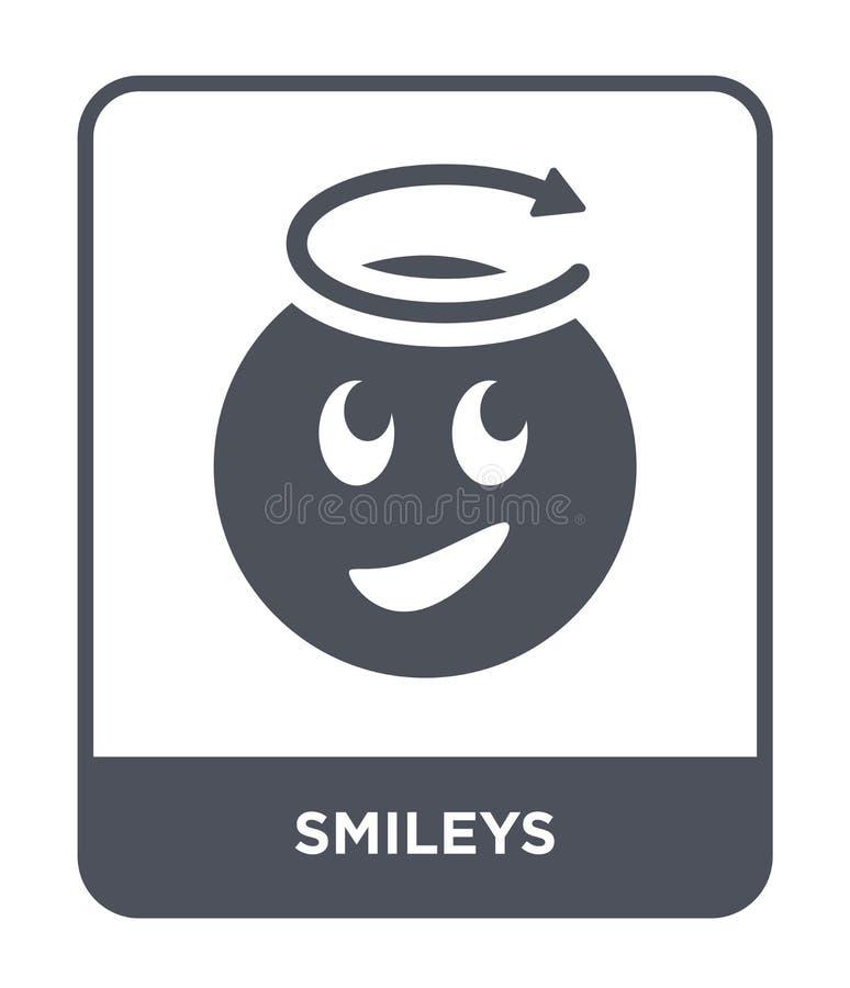 smileys pictogram in in ontwerpstijl smileys pictogram op witte achtergrond wordt geïsoleerd die smileys vectorpictogram eenvoudi royalty-vrije illustratie
