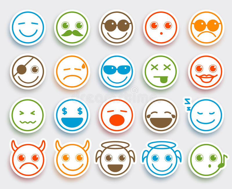 Smileys stawiają czoło wektorowych emoticons ustawiających w białym płaskim ikona majcherze ilustracji
