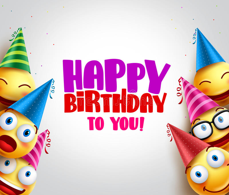 Smileys vector background with happy birthday greeting. Funny smileys wearing colorful birthday hats for party and celebrations. Vector illustration stock illustration