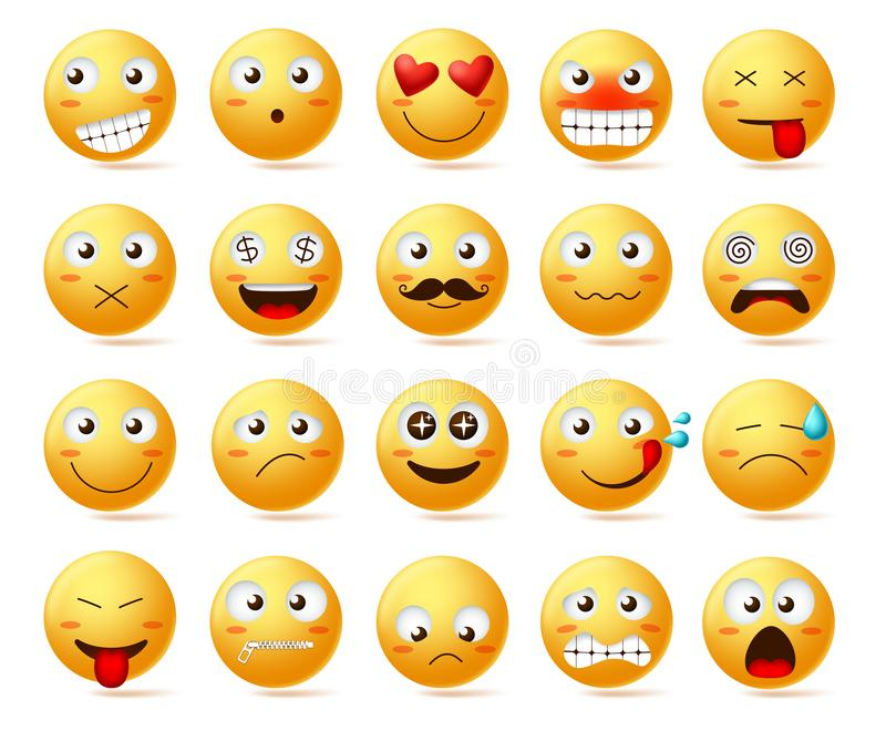 Smileys vector icon set. Smiley face or yellow emoticons with facial expressions and emotions vector illustration
