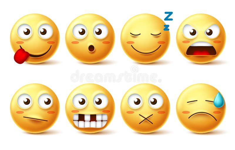 Smileys vector set with funny facial expressions. Smiley face cute emoticons with sleepy, toothless, angry and naughty vector illustration