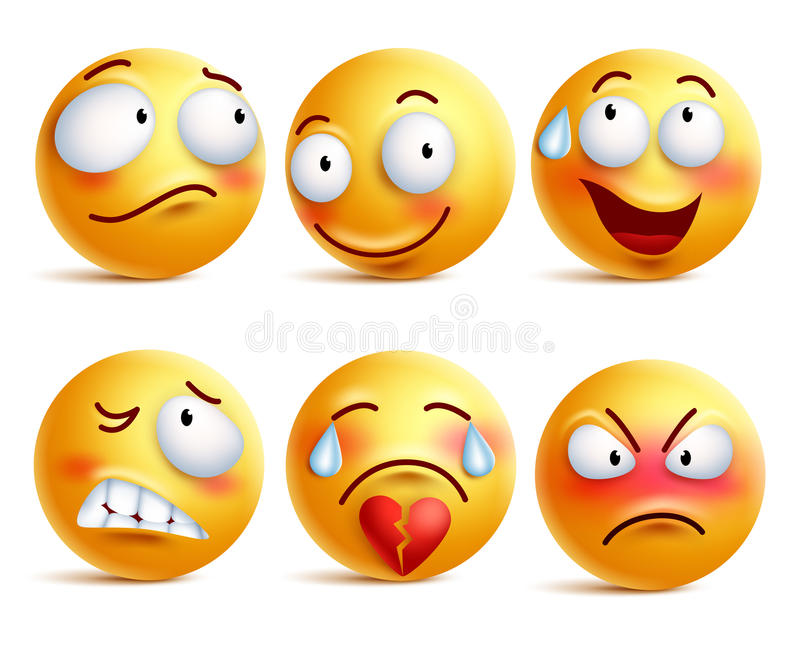 Smileys vector set. Smiley face or yellow emoticons with facial expressions stock illustration