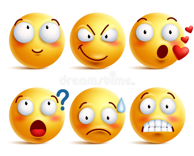 Smileys vector set. Yellow smiley face or emoticons with facial expressions. And emotions like happy, in love, and confused isolated in white background. Vector