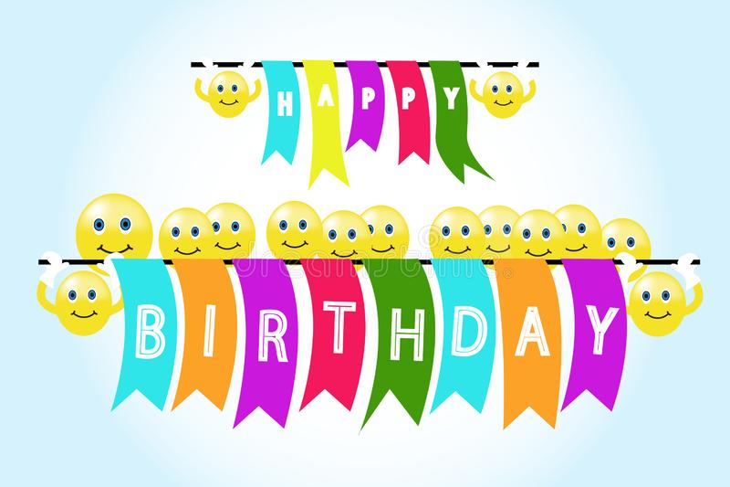 Smileys vectorachtergrond met gelukkige verjaardag stock illustratie