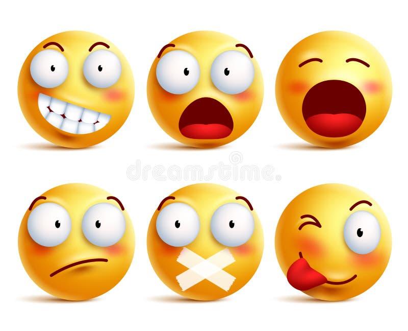 Smileys vectorreeks De pictogrammen van het Smileygezicht of emoticons met gelaatsuitdrukkingen vector illustratie