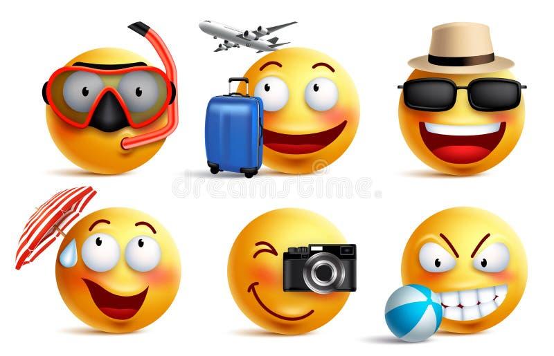 Smileys wektorowy ustawiający z lata i podróży strojami Smiley twarzy emoticons royalty ilustracja