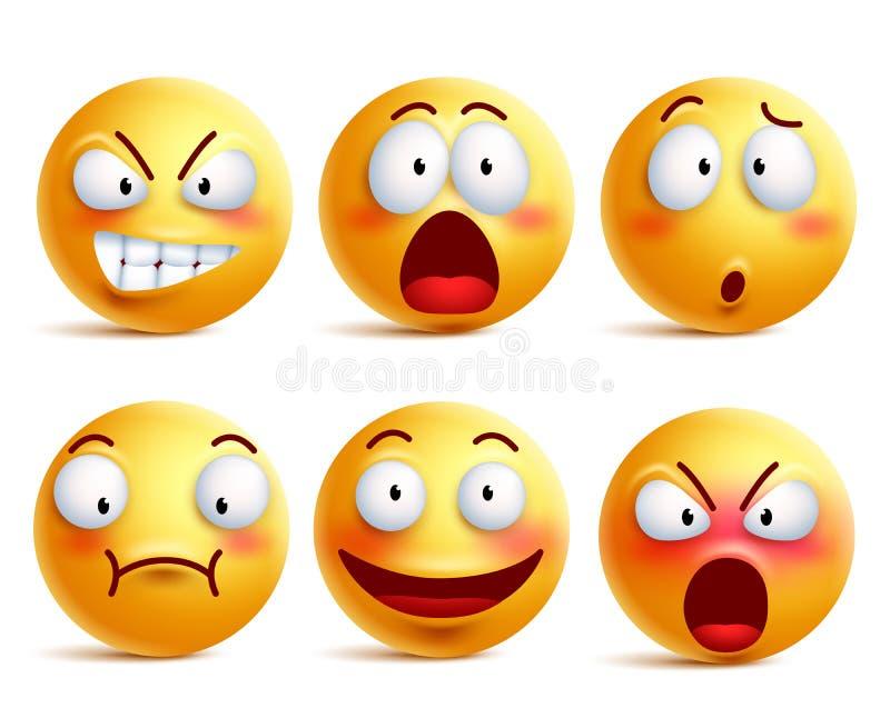 Smileys wektoru set Smiley koloru żółtego lub twarzy emoticons z wyrazami twarzy ilustracji